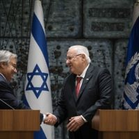Israeli President Reuven Rivlin (R) delivers a welcoming speech during a meeting with the Secretary general of UN, António Guterres in Jerusalem, Israel, 28 August 2017. It's the first visit of António Guterres to Israel and Palestine as UN Secretary General.   Photo by: JINIPIX