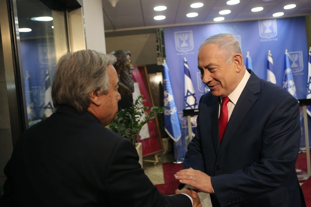 Israeli Prime Minister Benjamin Netanyahu meets with Secretary-General of the United Nations António Guterres, at the PM's office in Jerusalem on August 28, 2017. Photo by Alex Kolomoisky/POOL via JINIPIX