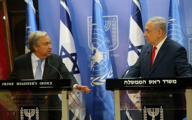 Israeli Prime Minister Benjamin Netanyahu meets with Secretary-General of the United Nations António Guterres, at the PM's office in Jerusalem. Photo by Alex Kolomoisky/POOL via JINIPIX