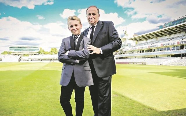 Oliver - and dad George - at Lords for Oliver's barmitzvah