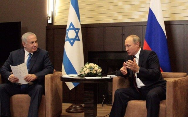 Benjamin Netanyahu with Russia's president Putin.   Photo credit: @netanyahu on Twitter