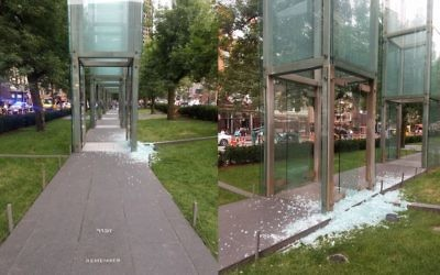 Images of the shattered glass of the Boston Holocaust memorial. Credit: Natalia Pfeifer‏ on Twitter: @talipfeifer
