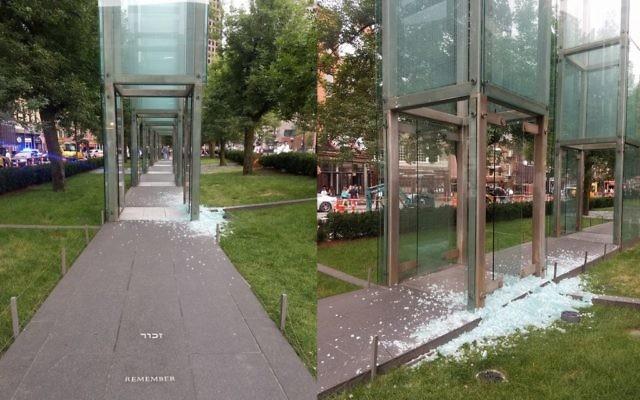Images of the shattered glass of the Boston Holocaust memorial. Credit: Natalia Pfeifer on Twitter: @talipfeifer