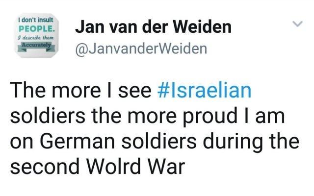 Jan van der Weiden's controversial tweet  (via 'nederland actueel' https://www.nederlandactueel.nl/2017/08/03/sper-jan-van-der-weiden-is-blij-dat-de-joden-werden-uitgeroeid/)