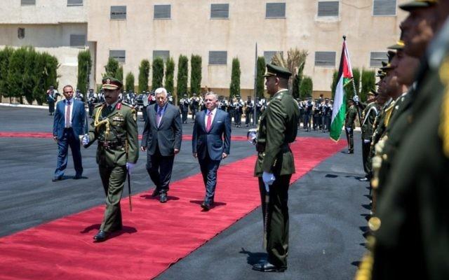 King Abdullah with Palestinian President Mahmoud Abbas