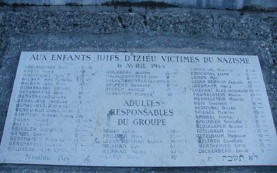 Commemorative plaque commemorating the Children of Izieu, in Nantua