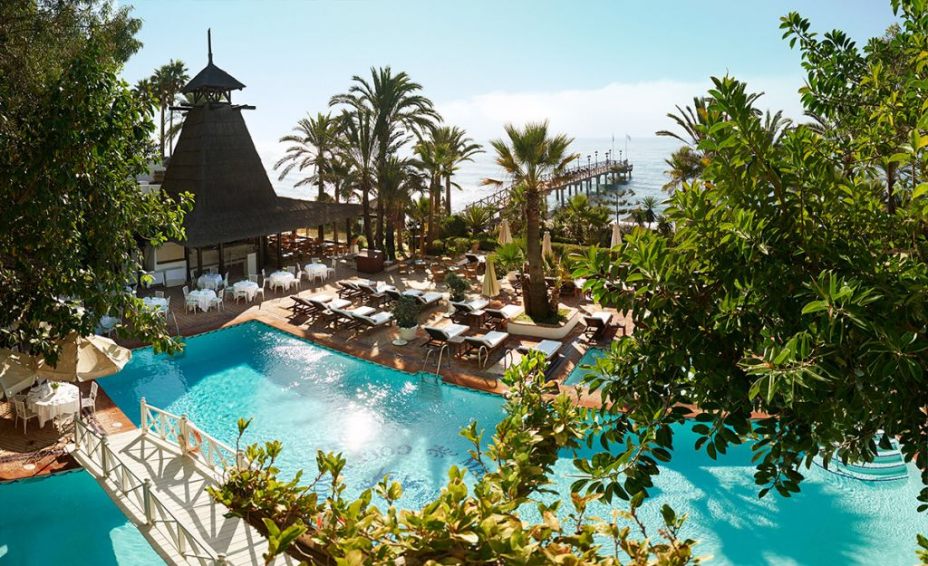 The Marbella Club's Beach Club is steps from the sea and has a heated seawater pool.