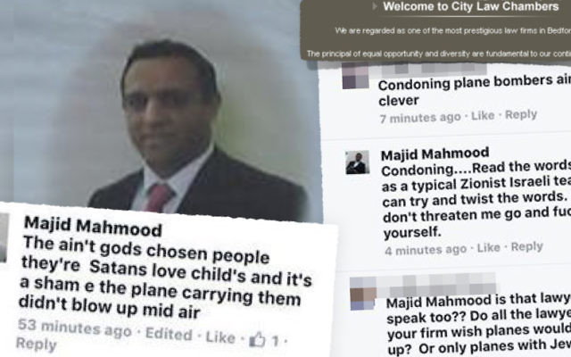 Majid-Mahmood with some of his tweets.   Picture credit: Campaign Against Antisemitism