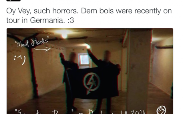 A National Action tweet of two of its members doing a Nazi salute in Buchenwald (May 2016)
