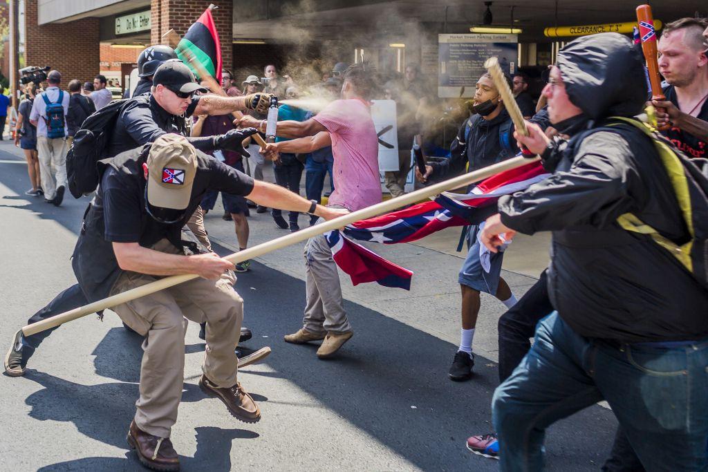 Far-right protestors and anti-fascist demonstrators clash in Charlottesville, Virginia.