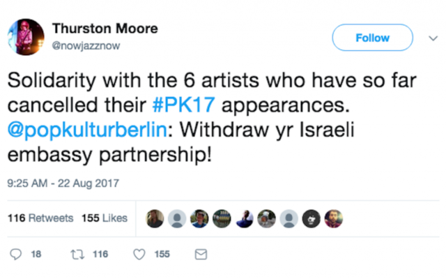 """Thurston Moore, a former member of Sonic Youth, called on the festival to cancel the Israeli Embassy sponsorship """"in solidarity with [the] Palestinian call for cultural boycott"""""""