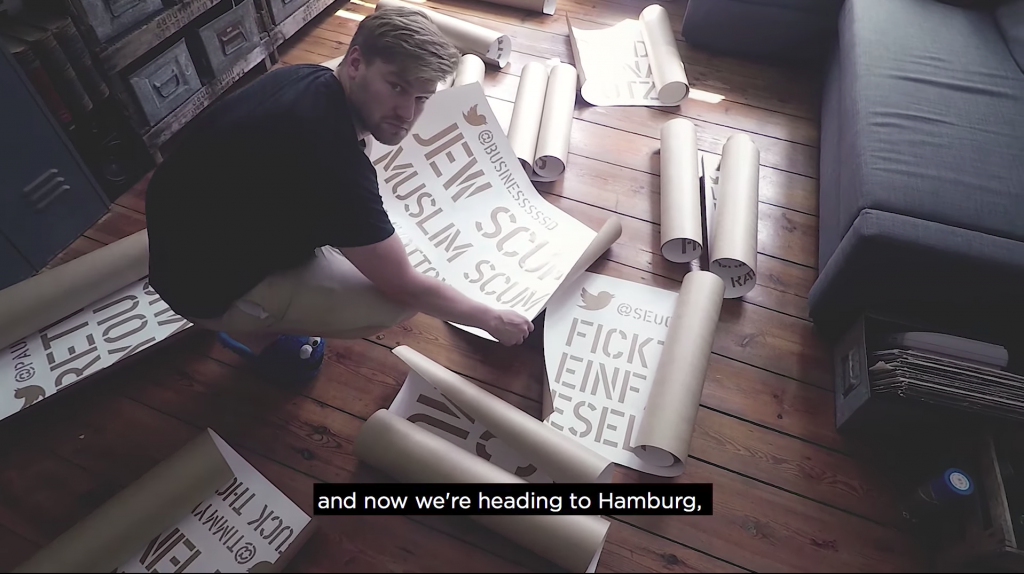 Shahak Shapira with some of his stencils