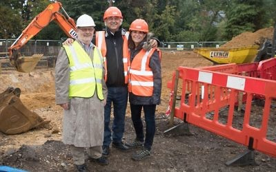 President Malcolm Ozin MBE Chairman John Joseph MBE & Chief Executive Hazel Kaye at the breaking ground ceremony