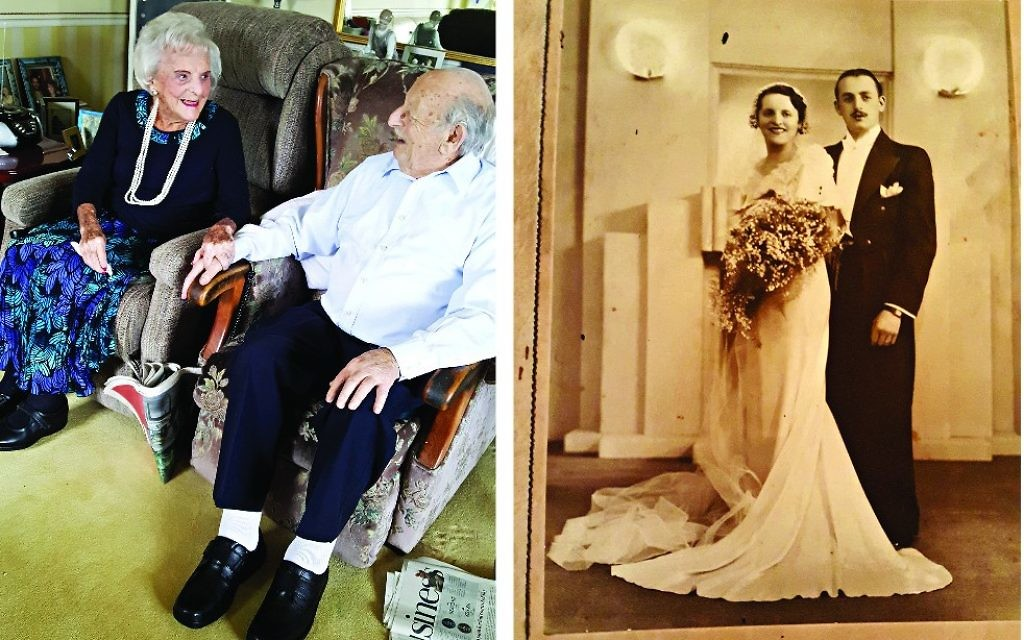 Helen and Maurice Kaye now and on their wedding day