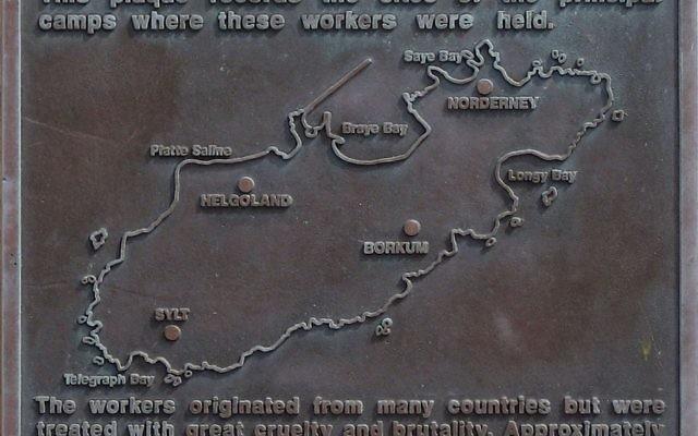 Alderney camps memorial plaque