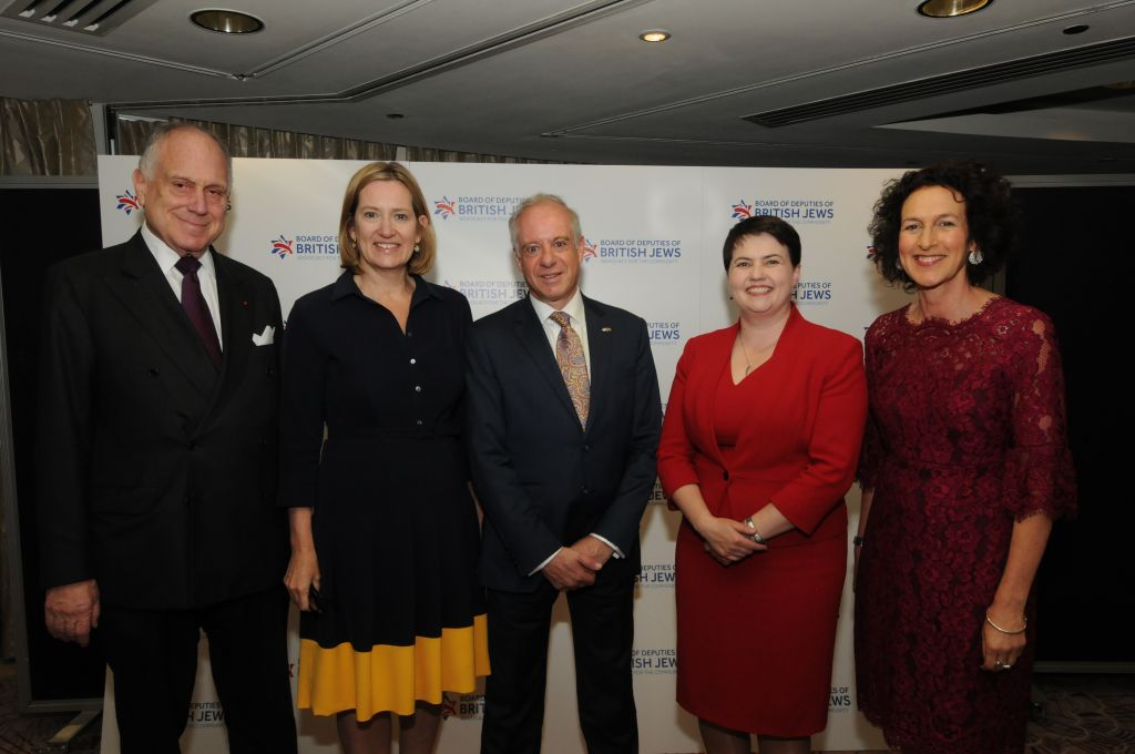 Left-Right: World Jewish Congress President Ronald Lauder, Home Secretary Amber Rudd, Board of Deputies President Jonathan Arkush, Scottish Conservative leader Ruth Davidson and Board of Deputies CEO Gillian Merron