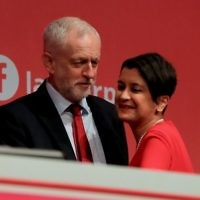 Labour Party leader Jeremy Corbyn with Shadow Attorney General, Baroness Chakrabarti, who published a report into anti-Semitism in June 2016   Photo credit: Gareth Fuller/PA Wire