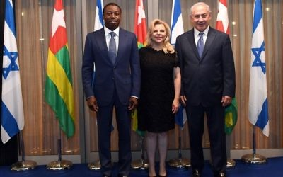Prime Minister Benjamin Netanyahu and his wife Sara meet with President of Togo, Gnassingbe Eyadema, at the Prime Minister's House in Jerusalem in August  2017.   Photo by Haim Zach / GPO