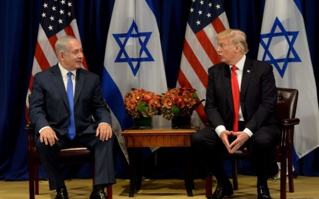 Prime Minister Benjamin Netanyahu meets with US President Donald Trump, in New York, on September 18, 2017. Photo by Avi Ohayon/GPO via JINIPIX
