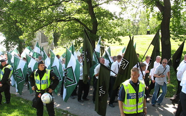Members of the neo-Nazi organization Swedish Resistance Movement (Svenska motståndsrörelsen) taking part in a nationalist demonstration in Stockholm on National Day  Source: Wikimedia Commons