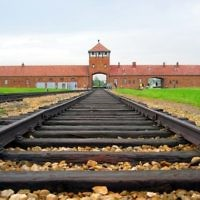 Auschwitz's infamous train tracks and death gate