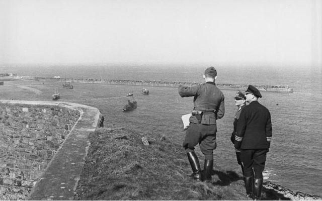 Germans inspecting harbour from Fort Albert on Alderney Island