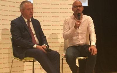 John Mann MP (left) with Progress Online's Richard Angell (right)  Credit: Cllr Sam Stopp