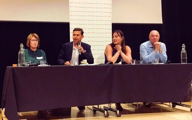 L-R: Jewish Labour MP Louise Ellman, Mike Katz, Ruth Smeeth and Ivor Caplin   Photo credit on Melantha Chittenden