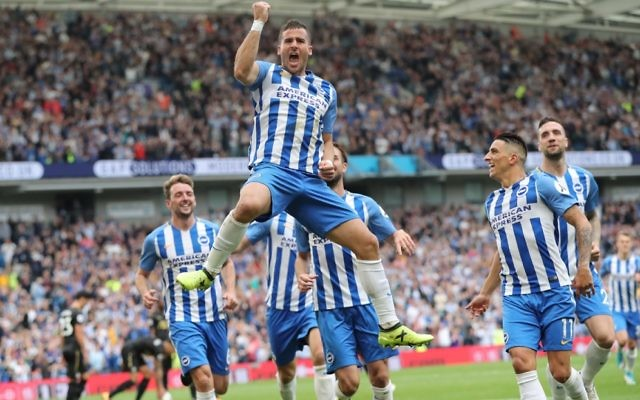 Tomer Hemed celebrates his match-winner against Newcastle