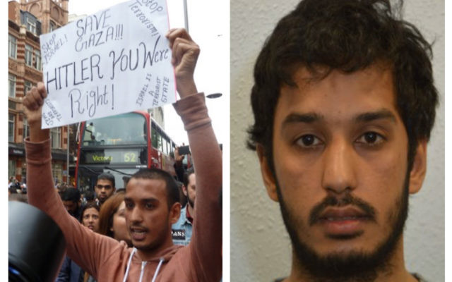 Hussain Yousef (left) holding his 'Hitler was right' sign, and right, in photo by the Metropolitan Police