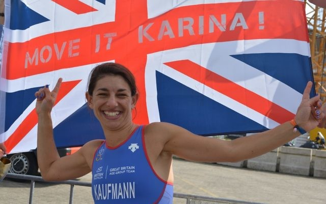 Karina's all smiles having completed the gruelling triathlon