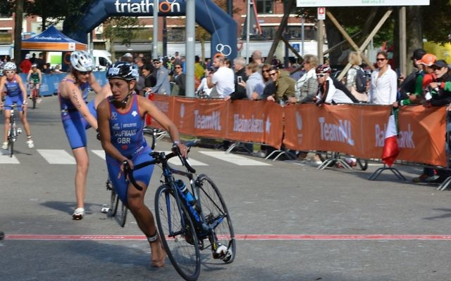 Karina during the 20km cycle stage of the race