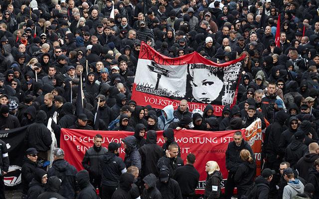 Neo-Nazi demonstration in Leipzig, Germany  met with anti-fascist protestors