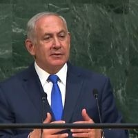Benjamin Netanyahu addressing the United Nations General Assembly.