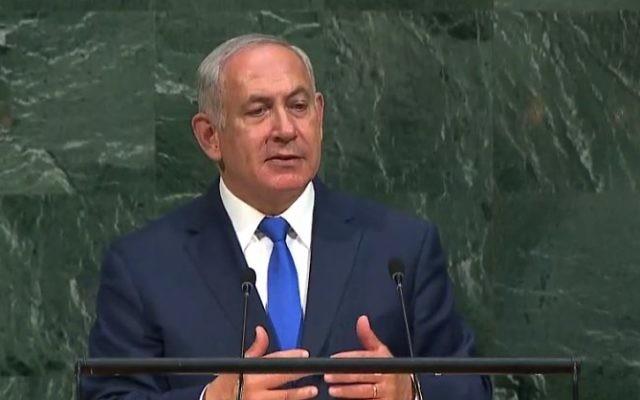 Benjamin Netanyahu addressing the United Nations General Assembly.