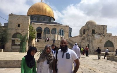 The British-Pakistani delegation at Temple Mount visiting the Golden Done and Al Aqsa mosque. Noor Dahri is on the right