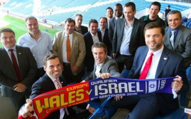 Stephen Crabb watching Wales versus Israel, 2015 (Front right)