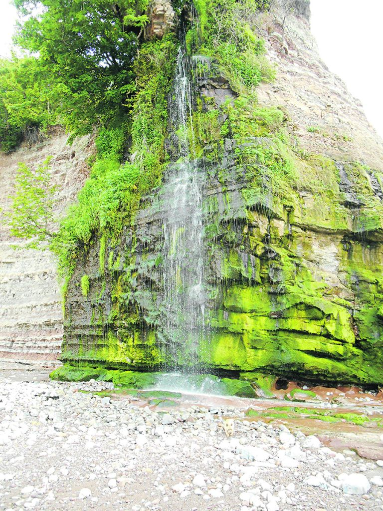 A waterfall at St Audries Bay