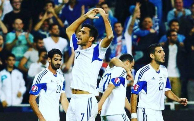 Eran Zahavi celebrates one of the seven goals he scored for the national team