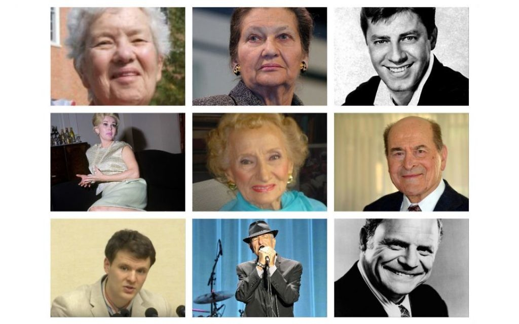 L-R: Top: Vera Rubin, Simone Veil, Jerry Lewis. Middle:  Zsa Zsa Gabor, Ruth Gruber, Henry Heimlich.  Bottom:   Otto Warmbier,  Leonard Cohen, and Don Rickles