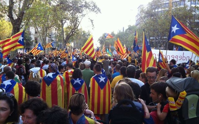 Supporters of Catalan independence in 2012.