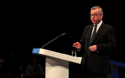 Michael Gove speaking during the Conservative party conference    Photo credit: Peter Byrne/PA Wire