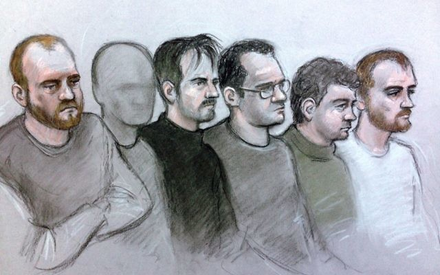 Court artist drawing by Elizabeth Cook of six alleged members of National Action (left to right) Christopher Lythgoe, 31, of Warrington, Cheshire, a 22-year-old man from Lancashire who cannot be named for legal reasons, Garron Helm, 24, of Seaforth, Merseyside, Michael Trubini, 35, of Warrington, Andrew Clarke, 33, of Warrington and Matthew Hankinson, 23, of Newton-le-Willows, Merseyside, at Westminster Magistrates Court in London, who are accused of continuing to be members of right-wing terror group after the group was banned under UK law  Photo credit should read: Elizabeth Cook/PA Wire