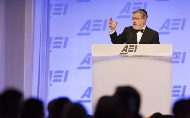 Lord Sacks addressing the AEI annual dinner   Credit: AEI, Eliot VanOtteren.