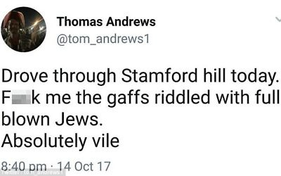 The tweet sent by @tom_andrews1, who has now disappeared from the site as a user, was criticised for being anti-Semitic   Image via Mail Online