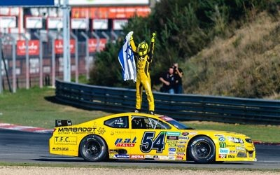 Alon Day celebrates his win. Picture: NASCAR Whelen Euro Series / Stephane Azemard