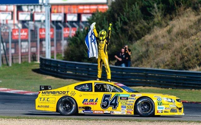 Alon Day celebrates his win. Picture: NASCAR Whelen Euro Series / Stephane Azemard