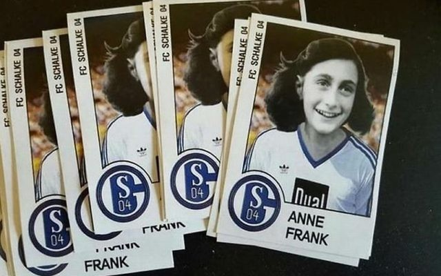 Police are investigating after German football fans mocked up pictures of Anne Frank in a rival's shirt