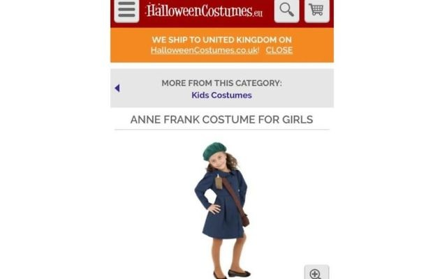 A screenshot from the website displaying an Anne Frank Halloween costume