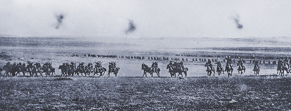 A picture of the historic Battle of Beersheva in progress